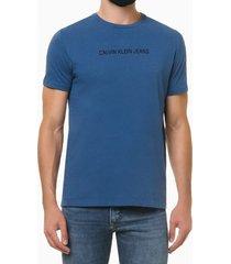camiseta masculina logo básico azul médio calvin klein jeans - p