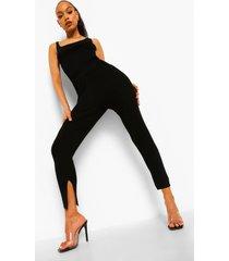 geribbelde gebreide set met leggings, black