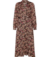 belted midi length wrap dress jurk knielengte bruin scotch & soda
