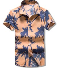 palm tree print button beach shirt
