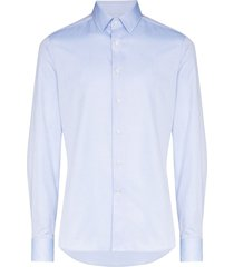canali structured cotton shirt - blue