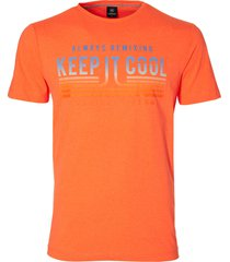 lerros t-shirt - regular fit - oranje