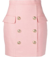 balmain military-style mini skirt - pink