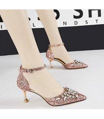 mujer sandalias zapatos de tacon con lentejuela fashion-cool-dorado rosa