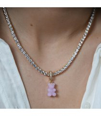 crystal haze women's pave nostalgia bear pendant - lilac