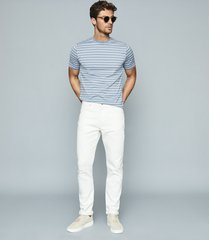 reiss holborn - mercerised striped crew neck t-shirt in airforce blue/ white, mens, size xxl