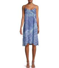 nicole miller women's tie-dyed silk-blend slip dress - blue tie dye - size s