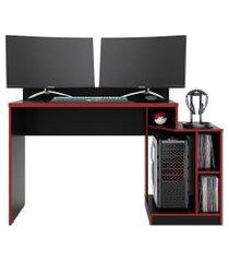 mesa gamer play preto fosco liso/vermelho albatroz