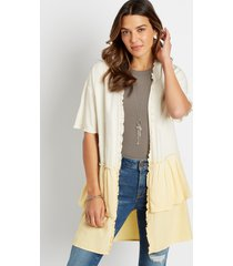 maurices womens yellow ombre ruffle trim kimono