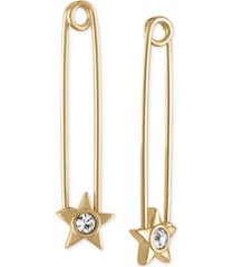 rachel rachel roy gold-tone crystal star safety pin earrings
