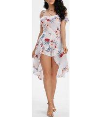 floral print tie shoulder cami skirted romper