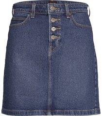 button fly a line sk kort kjol blå lee jeans