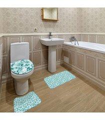 jogo de banheiro floral verde ãšnico - verde - dafiti