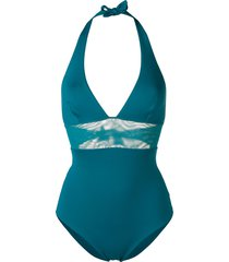 fisico mesh panel halter swimsuit - blue