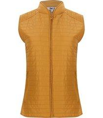chaleco mujer con cremalleras color amarillo, talla l