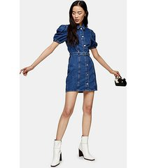 considered puff sleeve belted denim dress - mid stone