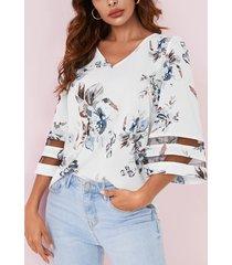 yoins blusa con mangas de campana y cuello en v con estampado floral al azar