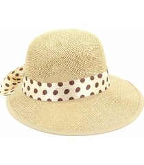 chapéu bijoulux bege tipo viseira com faixa poá bege