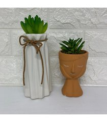 conjunto de vasos moderninhos, vaso com corda e vaso mulher - laranja - feminino - dafiti