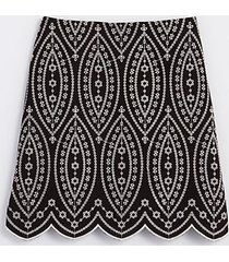 loft petite embroidered scalloped shift skirt