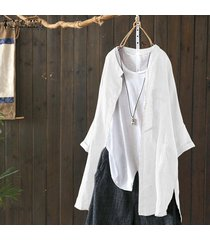 zanzea collar del soporte ocasional de la camisa larga de las tapas de las mujeres asimétrica del dobladillo de la blusa de split plus -blanco
