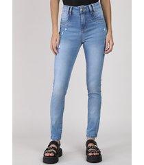 calça jeans feminina sawary skinny levanta bumbum cintura média destroyed azul claro