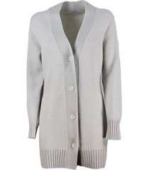 malo long cardigan with half-rib cashmere with ribbed waist