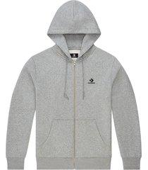 converse sudadera con capucha con cremallera completa y logotipo de estrella y galón bordado grey