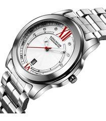 orologio da uomo in argento con diamanti al quarzo