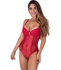 body vip lingerie com bojo de renda abertura nas costas vermelho