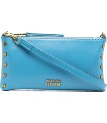 versace jeans couture logo-plaque clutch bag - blue