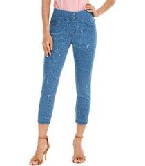 hue women's high-rise ditsy floral-print denim skimmer leggings