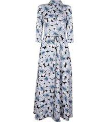 vestido savannah maxi floral azul banana republic