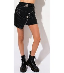 akira belted vegan leather mini skirt
