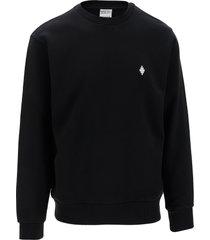 marcelo burlon designer sweatshirts, black cotton men's sweatshirt w/embroidery logo