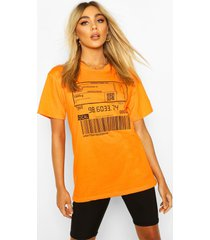 barcode print t-shirt, orange