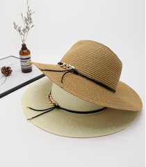 1 cadena de ala ancha diseño paja sombrero