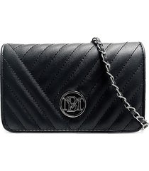 badgley mischka women's logo quilted wallet-on-chain - ruby red