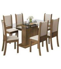 conjunto sala de jantar mesa c/ 6 cad. madesa modena marrom/bege