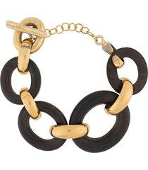 yves saint laurent pre-owned wooden chain bracelet - brown