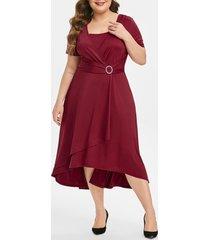 plus size high rise overlap midi short sleeve dress