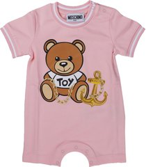 moschino pink short sleeve jumpsuit with bear print