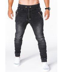 cremallera con cordón de cintura elástica informal lavada para hombres diseño jeans