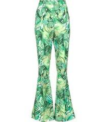 flared broek met bladerenprint mowi  groen