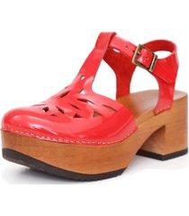 sandalia cuero pajaro picaflor charol rojo kebba