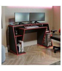 mesa computador gamer 145cm kappesberg l101 preta e vermelha