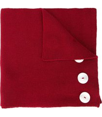 0711 button embellished long scarf - red