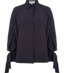 kenzo tie sleeves loose fit shirt - blue