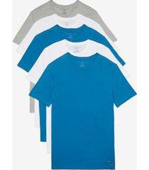 tommy hilfiger men's cotton classics crewneck undershirt 5pk white/grey heather/faience/faience - xl