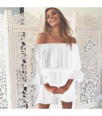 zanzea barco de las mujeres del cuello de la manga de la mariposa cold shoulder volante elástico mini vestido off white -blanco